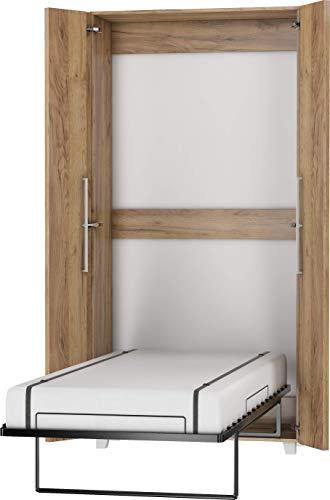 FurnitureByJDM Schrankbett Vertikal, Wandklappbett, Bettschrank, Wandbett, Schrank mit integriertem Klappbett, Funktionsbett - TEDDY - (Craft Gold, 90 x 200 cm)