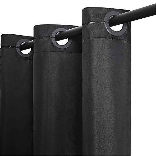 Furlinic Schmaler Duschvorhang für Dusche und Badewanne Badvorhang Textil aus Polyester Stoff schimmelresistent Wasserabweisend und Waschbar Schwarz 150x183 mit Groß Ösen.