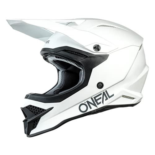 O'NEAL   Motocross-Helm   Motocross Enduro   Sicherheitsnormen ECE 22.05, Schale aus ABS, Lüftungsöffnungen für optimale Belüftung & Kühlung   3SRS Helmet Solid   Erwachsene   Weiß   Größe L