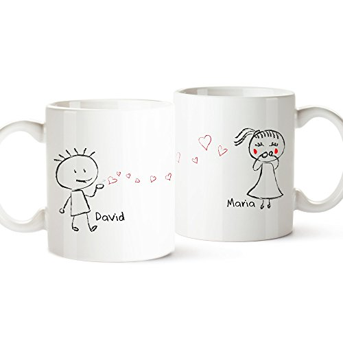 2er Tassen-Set - Liebespaar - Personalisiert mit [Namen] - Zwei weiße Kaffetassen im Set - niedliche Geschenkidee für den Partner oder die Partnerin - Liebesgeschenke zum Valentinstag oder Jahrestag