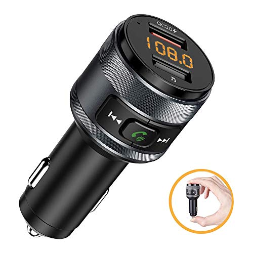 WNN-URG FM Transmitter, QC3.0 Bluetooth Radio Transmitter Car Wireless Audio Adapter with 5V/4A Dual USB Charger Ports, Voltage Display, for iOS and Android URG