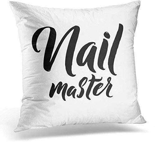 Kinhevao Almohada de Tiro Texto Negro Nail Master Letras Frase de caligrafía para blogs de Belleza Almohada Decorativa artística Blanca Decoración del hogar Almohada Cuadrada