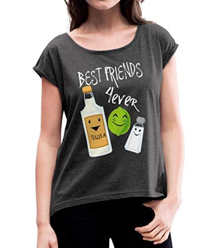Beste Freunde Für Immer Tequila Limette Salz Frauen T-Shirt mit gerollten Ärmeln, M, Schwarz meliert