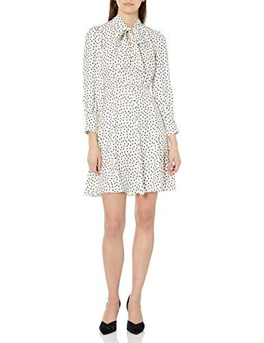 Rebecca Taylor Women's Long Sleeve Heart Print Silk Mini Dress with Neck Tie, Snow Combo, 0
