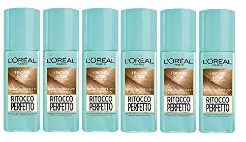 Set 6 OREAL Ritocco Perfetto Spray N°4 Biondo Scuro Tinta E Colore Per Capelli