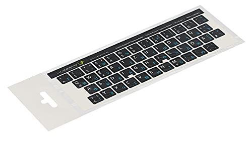 Lacerto® | 14x14mm Russisch-Deutsche Aufkleber für PC/Laptop & Notebook Tastaturen mit mattem kratzfestem Laminat | Farbe: Hellblau-Schwarz (Nicht transparent)