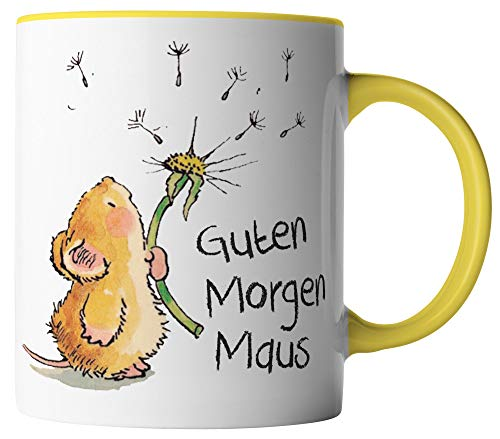 vanVerden Tasse - Guten Morgen Maus - beidseitig Bedruckt - Geschenk Idee Kaffeetasse mit Spruch, Tassenfarbe:Weiß/Gelb