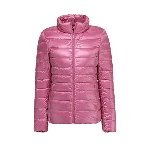 KaloryWee Damen Steppjacke Einfarbige Slim Warme Stehkragen mit Reißverschluss Tarnung Daunenjacke Leicht Baumwollkleidung