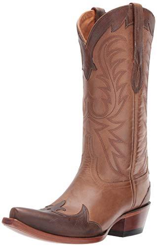 "Lucchese Womens Bernadette Snip Toe Western Cowboy Dress Boots Knee High Low Heel 1-2"" - Brown - Size 8 B"