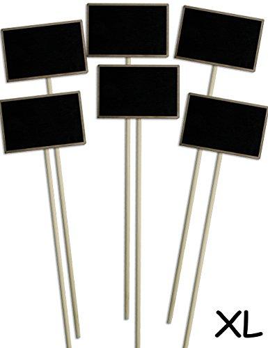 HomeTools.eu® - 6X Klassische Holz-Schilder Pflanz-Schilder XL, für Gewächshaus Beet Balkon Kräuter-Garten Blumen-Kübel, Landhaus, Holz-Tafel beschreibbar, 35cm, 6er Set