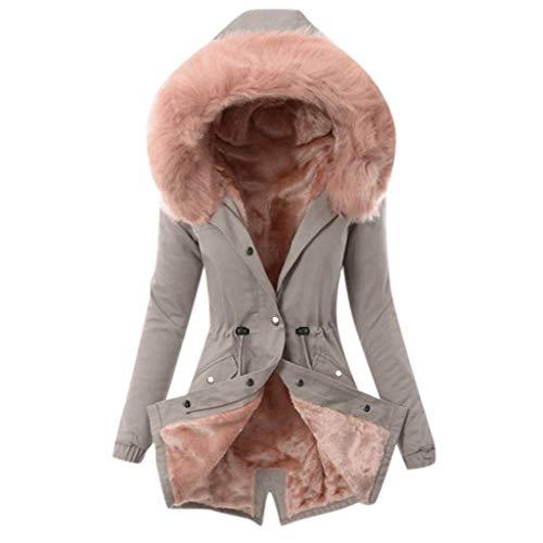Onsoyours Abrigo De Invierno Mujer Libre Abrigos para Mujer Rebajas Talla Grande Abrigo con Capucha De Manga Larga Vintage Cremallera Señoras Abrigos con Bolsillos Gruesos De Lana B Gris XL