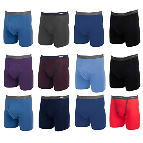 Fruit of the Loom, 12 Pack Random, Mens Underwear, Underwear for Men, Cotton Underwear, Boxer Briefs with Fly, Tag Free Blue