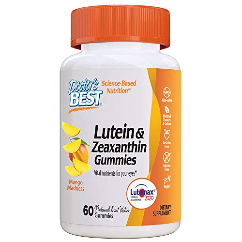 Doctor's Best Lutein Gummies with Lutemax 2020, 60 Ct, Chewable Natural Eye Support Supplement, Marigold Lutein, Zeaxanthin, Eye Health & Macular Support, Non-GMO, Natural Fruit Pectin, Vegan