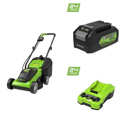 Greenworks Tools G24LM33 Cortacéspedes rotativos, 24 V, 33cm & 2 x Batería G24B4 2ª generación & 2932407 Cargador