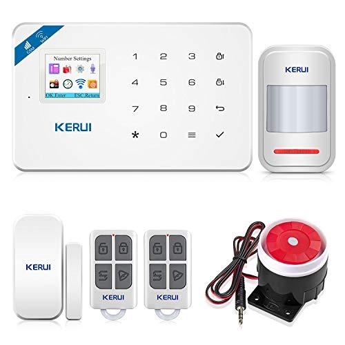 KERUI W18 Sistema de Alarma Inalámbrico 2.4G WiFi gsm para el Hogar, Kits de Sistema de Alarma Antirrobo DIY con Control de Marcado Automático por SMS y App (iOS Android), Fácil de Instalar