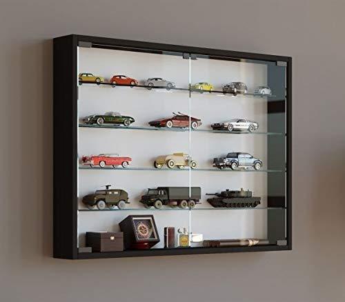 VCM Mandosa L, verzamelvitrine, wandvitrine, wandkast, plank, hangrek, hangvitrine hout, zwart, 60 x 80 x 10 cm