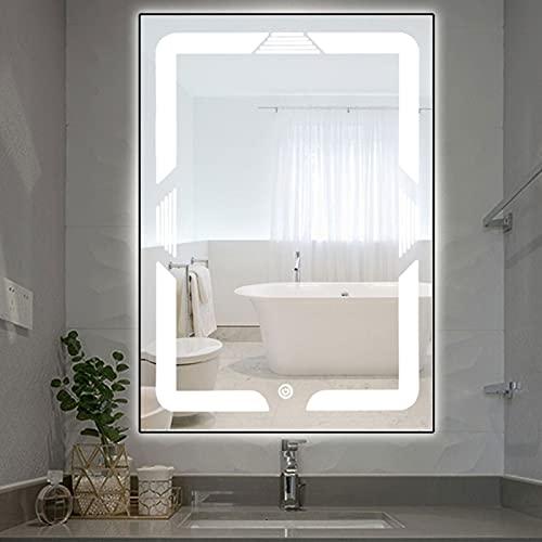 Espejos de Baño Baratos con Luz Pared Led, Espejos Decorativos de Pared Grandes Espejo Maquillaje Sin Marco, Interruptor de Táctil
