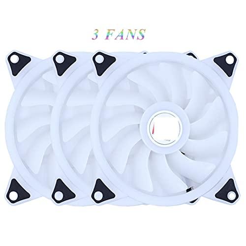 Fan 120MM Fan 12V MOLEX PC Caja de enfriamiento de computadora Fans Cooler Lámpara de Colores Radiador Auto (Blade Color : 3Pcs RGB Fan)