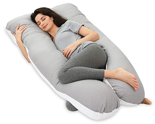 NiDream Bedding Pregnancy Pillows, Full Body Pillow with Washable Cotton Cover - Maternity Pillow for Pregnant Women - Sleeping - Back Pain Relief, 60' x 31' x 7.8' (White & Grey)