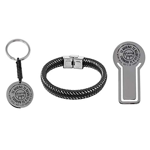 Pack Bookmarks Father Stainless Steel Bracelet Rhodium Plated Key Phrase Thanks Dad Soul Collection