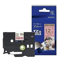 ブラザー工業 TZe-RE34 TZeテープ リボンテープ(ピンク地/金字) 12mm