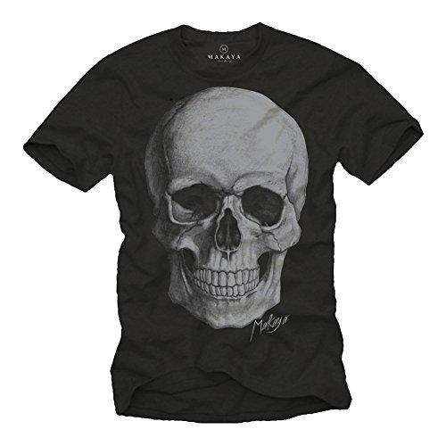 MAKAYA Camiseta Craneo Hombre - Negro XL