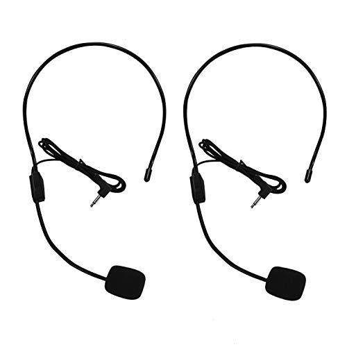 Set of 2 Headset Microphone, Flexible Wired Boom for Voice Amplifier,Teachers, Speakers, Coaches, Presentations, Seniors and More, Black