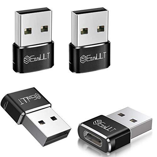 EasyULT Adaptador USB C Hembra a USB Macho (4 Pack), Adaptador de Carga Rápida, para iPhone 11 12 Pro MAX, Computadoras Portátiles, Bancos de Energía y Otros Dispositivos con USB C(Negro)