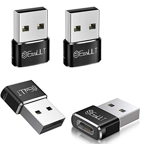 EasyULT Adattatore USB C Femmina a USB Maschio (4 Pezzi), USB ad Alta velocità Type-C a USB 2.0 Sincronizzazione Dati Convertitore, per Samsung Galaxy Note 10 S20 Plus y Otro Dispositivo USB C(Nero)