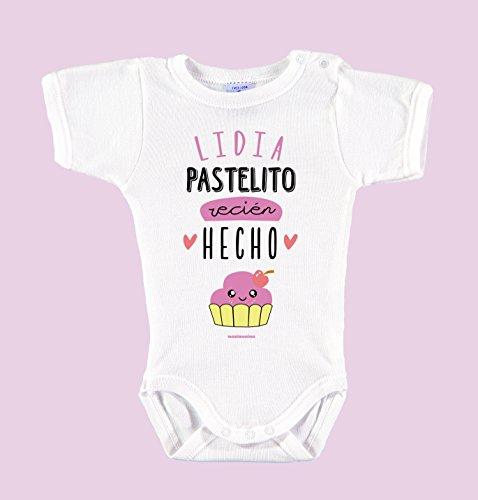 Body Bebé Personalizado con Nombre 100% Algodón Orgánico'Pastelito Recién Hecho' (3 meses, Rosa)