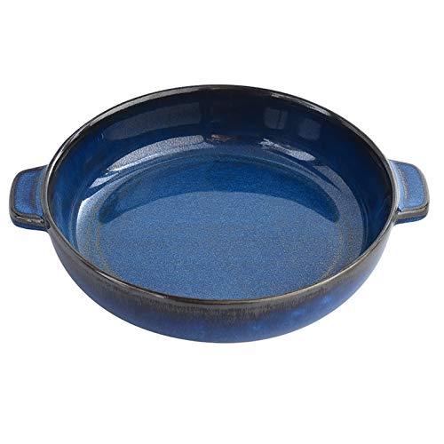 KVV Ceramics Round Baking Dish for Dinner, Mini Pie Pan with Handle for Oven,9 Inches inner Diameter,Plate for Dessert Kitchen valentine (Reactive Blue)