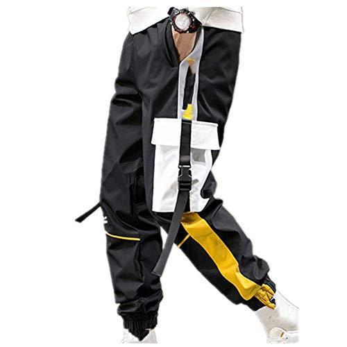 N\P Pantalones Harem Hombres Cintas Negro Hip Hop Pantalones de los Hombres Casual Joggers Pantalones Hombre Streetwear