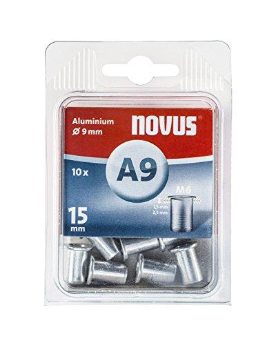 Novus Blindnietmutter Ø9 mm Aluminium, M6 Gewinde, 15 mm Länge, 10x Nietmutter, für Kunststoff und Leichtbaumaterial