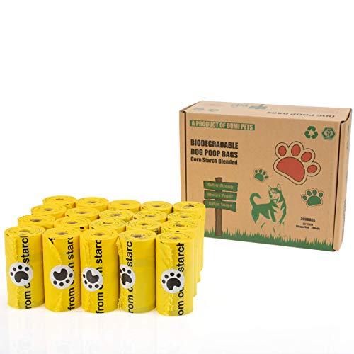 Dumi Pets Bolsas biodegradables extra gruesas y fuertes, a prueba de fugas, 20 rollos para 300 bolsas de basura para perros, ecológicas para perros hechas de almidón de maíz (amarillo)