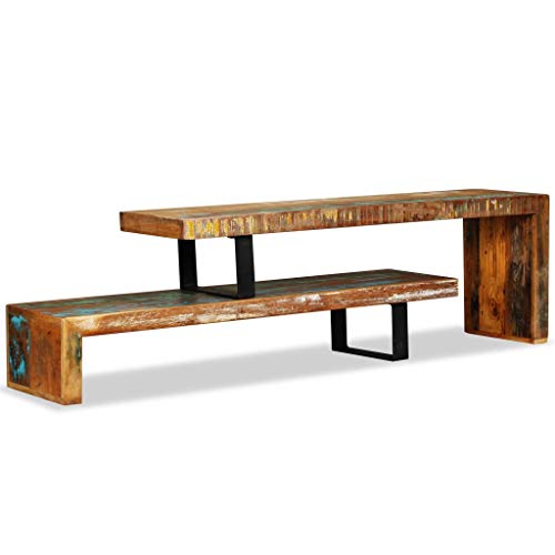 Festnight 2 Tier TV Stand with Storage Space and Iron Legs Wooden Stackable Couch Table End Side Table Living Room Home Office Furniture Handmade (Reclaimed Wood)