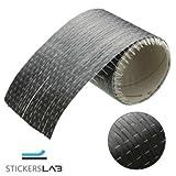 StickersLab - Rotolo in tessuto in vera fibra di carbonio 200 g/m² 12K UD PLAIN unidirezionale da 20cm (200mm(20cm) x 1 Metro)