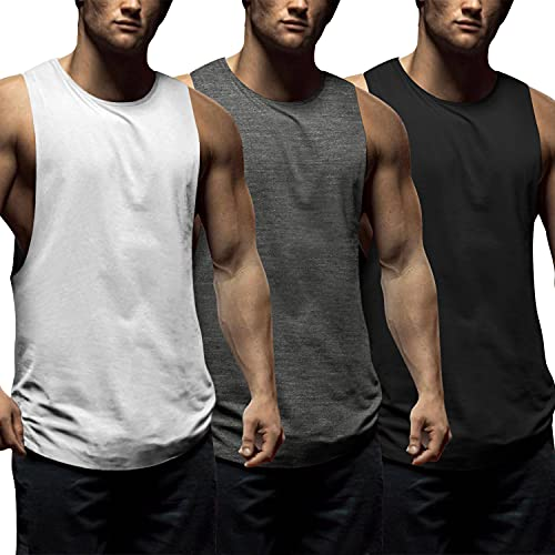 COOFANDY Men's 3 Pack Workout Tank Tops Sleeveless Gym Shirts Bodybuilding Fitness Muscle Tee Shirts