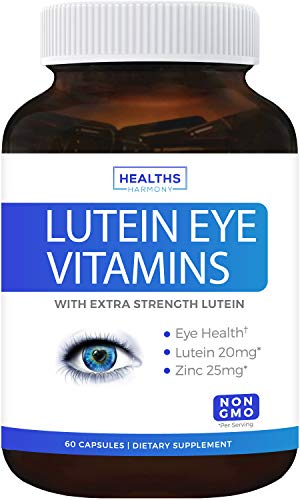 Eye Vitamins with Lutein (Non-GMO) Vision Support Supplement for Dry Eyes & Vision Health Care - Bilberry - 60 Capsules