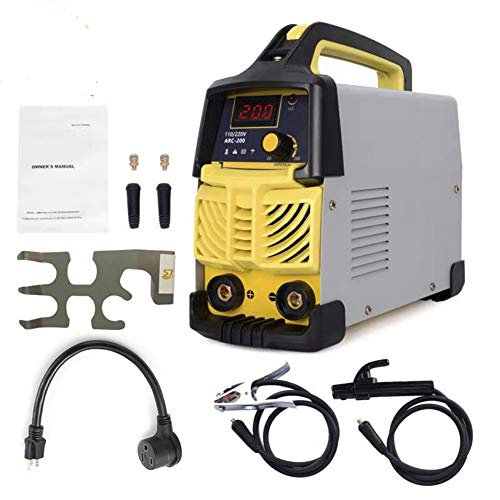 Welder,200A ARC Welder Machine IGBT Digital Display LCD Hot Start Welder with Electrode Holder,Work Clamp, Input Power Adapter Cable and Holder(110V&220V)