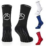 Chaussettes de football antidérapantes avec coussinets en caoutchouc antidérapants pour la course à pied, le rugby, le basket-ball, le fitness, Noir, Bleu, Rouge, Blanc, Homme UK5.5 to 11 EU39 to 46