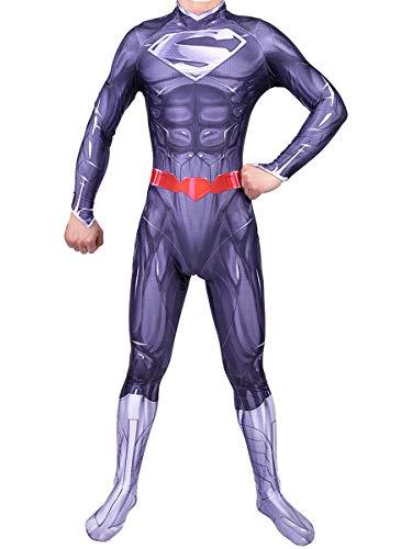 Nios Adulto El hombre de la pelcula de acero fans de la ropa de la ropa del superhroe para el vestido de lujo, juego apretado juego de rol de anime de anime superman cosplay anime traje de anime