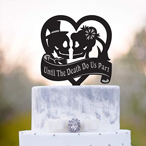 Tortenaufsatz mit Zombie-Hochzeit, Totenkopf, Halloween, Hochzeit, Halloween, Totenkopf, Topper, Sugar Skull Wedding Topper, a331