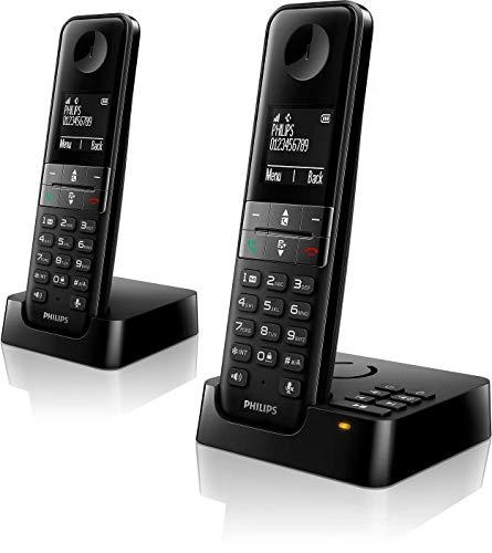 Philips D4752B/01 DECT Schnurlostelefon mit Anrufbeantworter, 2 Mobilteile