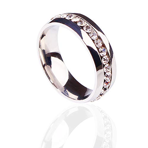 N Lady & Girls Elegant Ring with Diamond Ring Jewelry Birthday Gifts - Silver