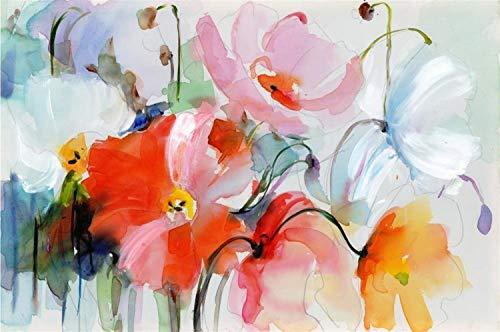 NO BRAND Flores de la Acuarela Moderna Pintura Mural Pintado a Mano Las Flores de Amapola impresión en Lienzo Cuadro de la Pared for Sala de Estar Decoración de Regalos