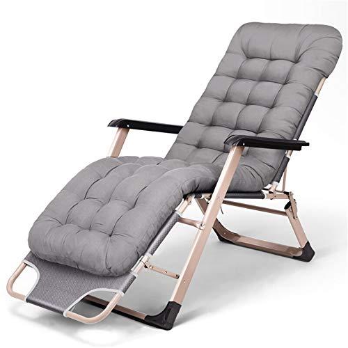 PN-Braes - Tumbona reclinable reclinable para jardín, sillas reclinables, sillas reclinables, para patio, piscina, sillas de gravedad cero opcionales, acero, Gris plateado, 178x67x30cm