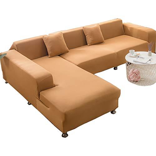 BHAHFL Fundas elásticas para sofá de 1 Pieza - Fundas para sofá con Estampado de poliéster y Spandex - Funda/Protector para Muebles para sofá con Base elástica y Espuma,Camel,2Seater