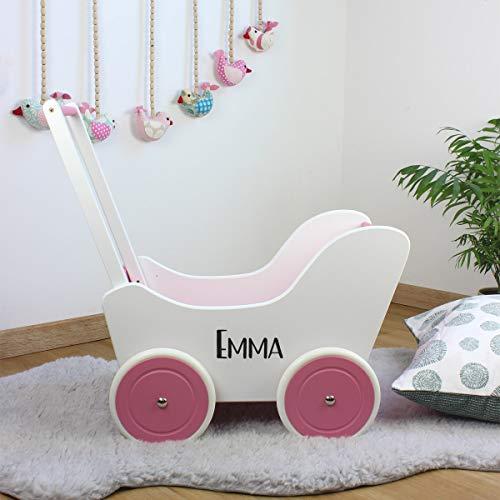 Puppenwagen Lauflernwagen Rosa mit Personalisierung