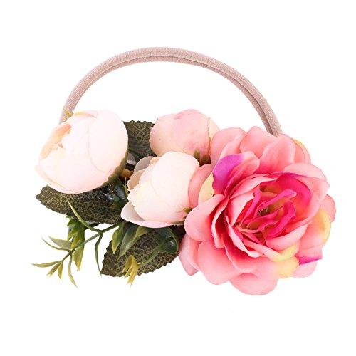 TININNA Bébé Garçons Filles Fleur à la Main Bandeau Couronne Festivals Bandeau Couronne Chapeau Coiffure Rose Rouge