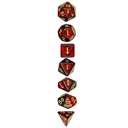 JenLn Juego de dados digitales multicaras, juego de dados de doble color (3 juegos), dados de juego de rol (color negro y rojo, tamaño: 16 mm)